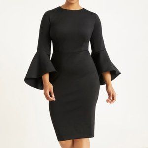 Eloquii Flare Sleeve Scuba Black Dress